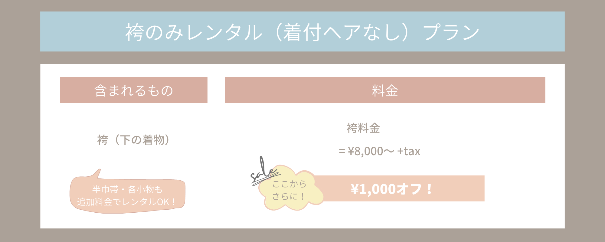 袴のみレンタル(着付ヘアなし)プラン 総額から1000円オフ