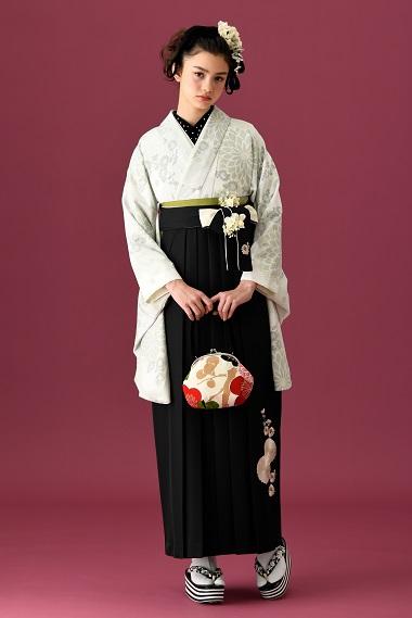 [hakama00384]極薄黄緑に、薄黄緑とゴールドの菊 くすみパステル 女卒業式袴2尺袖